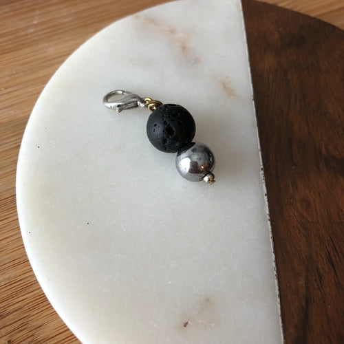 Pet Diffuser Charm with Lava Rock and Hematite