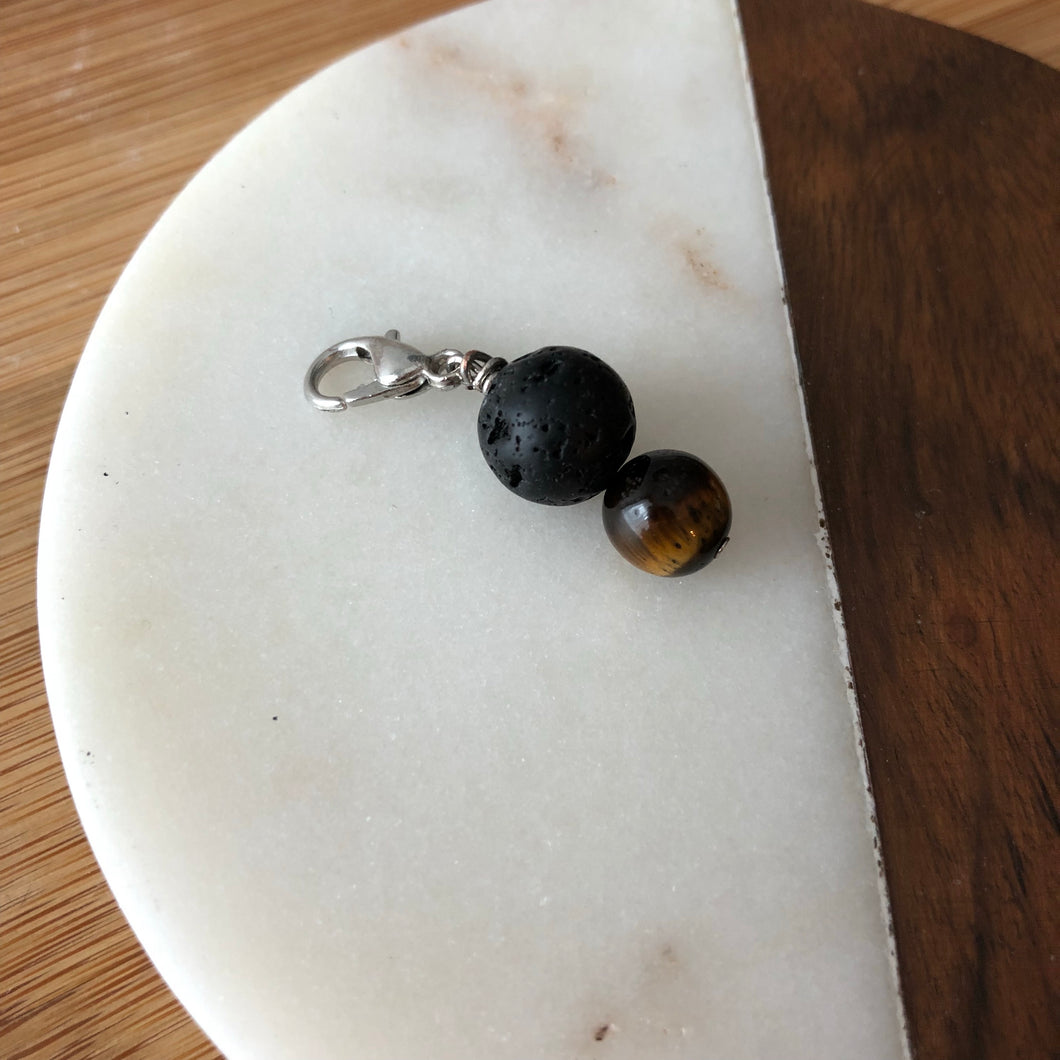 Pet Diffuser Charm with Lava Rock and Tiger's Eye