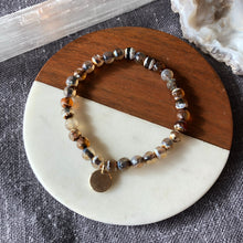 Agate Bracelet with Gold Charm