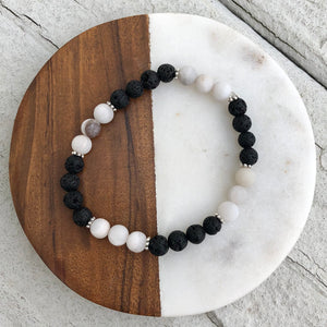matte white agate with lava rock diffuser bracelet with healing crystals Handmade