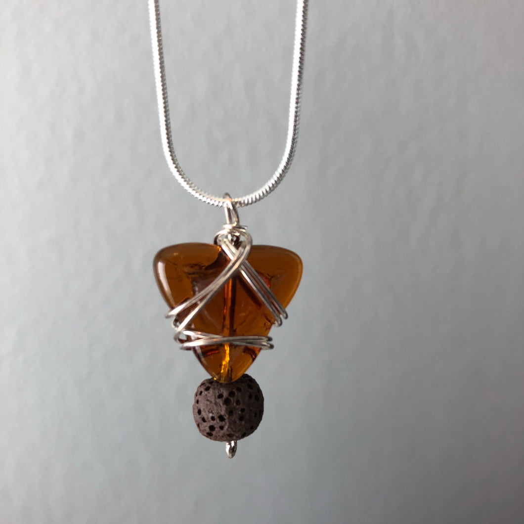 Diffuser Pendant with Vintage Glass and Lava Rock