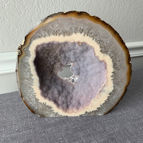 Freestanding Agate Slice with Purple Druzy Middle