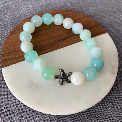 Sea Green Agate Bracelet with Starfish Charm