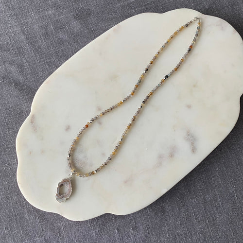 Agate All Bead Necklace with Stunning Agate Slice Charm