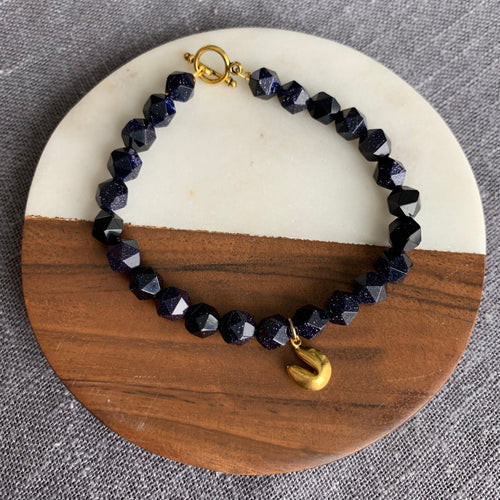 Fortune Cookie Charm and Blue Goldstone Bracelet with Toggle