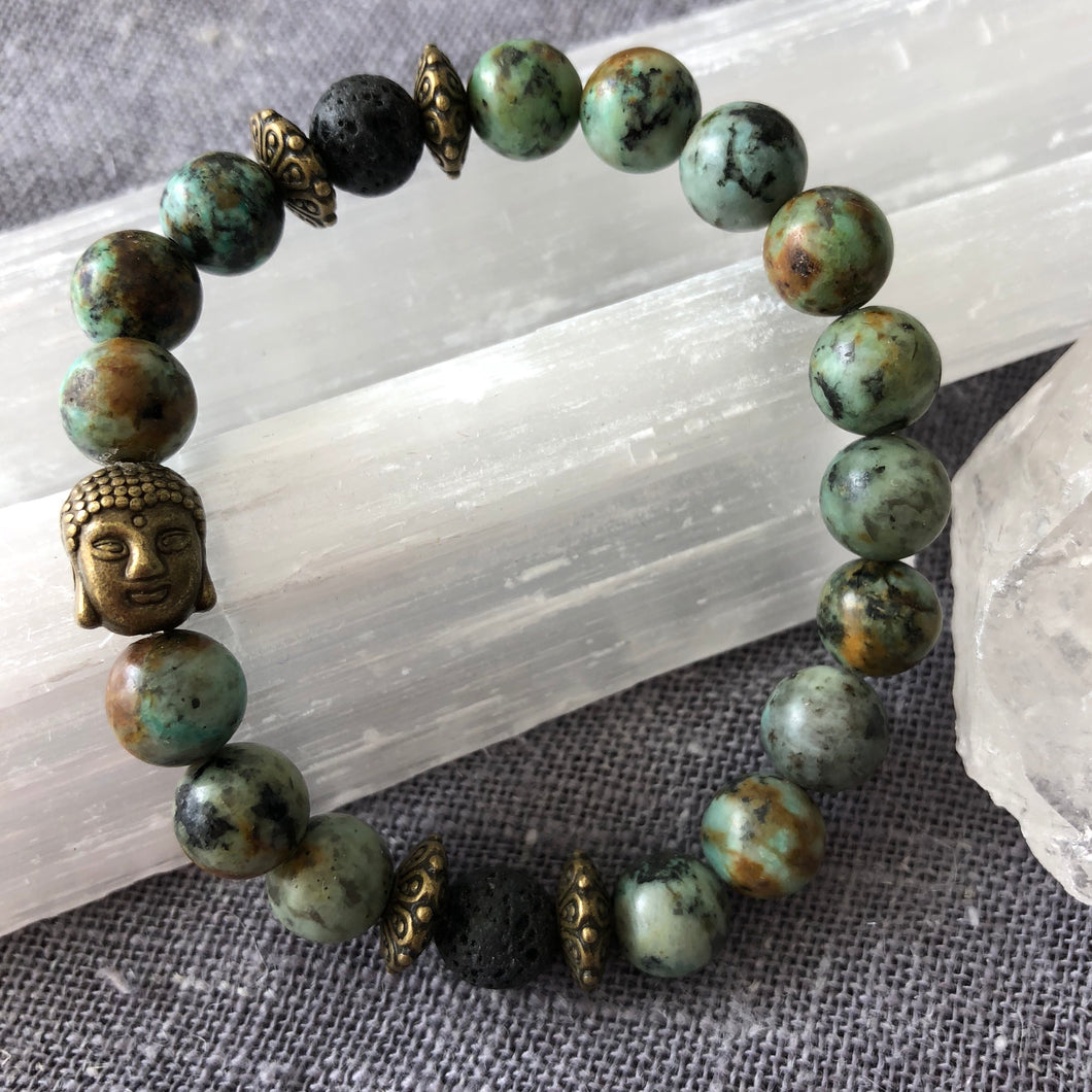 Buddha Diffuser Bracelet with African Turquoise and Lava Rock
