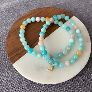 Multi Color Beryl Bracelet {moon charm optional}
