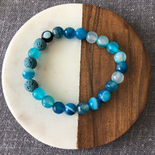 Diffuser Bracelet with Blue Line Agate and Lava Rock