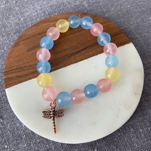 Multi Color Agate Bracelet with Dragonfly Charm