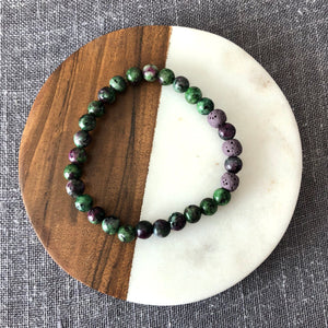 Diffuser Bracelet with Ruby Zoisite and Lava Rock