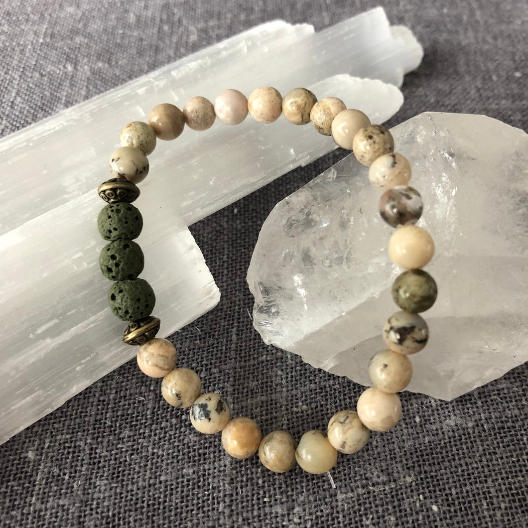 Diffuser Bracelet with African Opal and Lava Rock