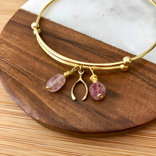 Wishbone and Strawberry Quartz Bangle Bracelet