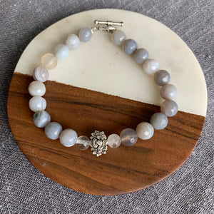 Gray Line Agate and Quartz Bracelet with Lotus Charm