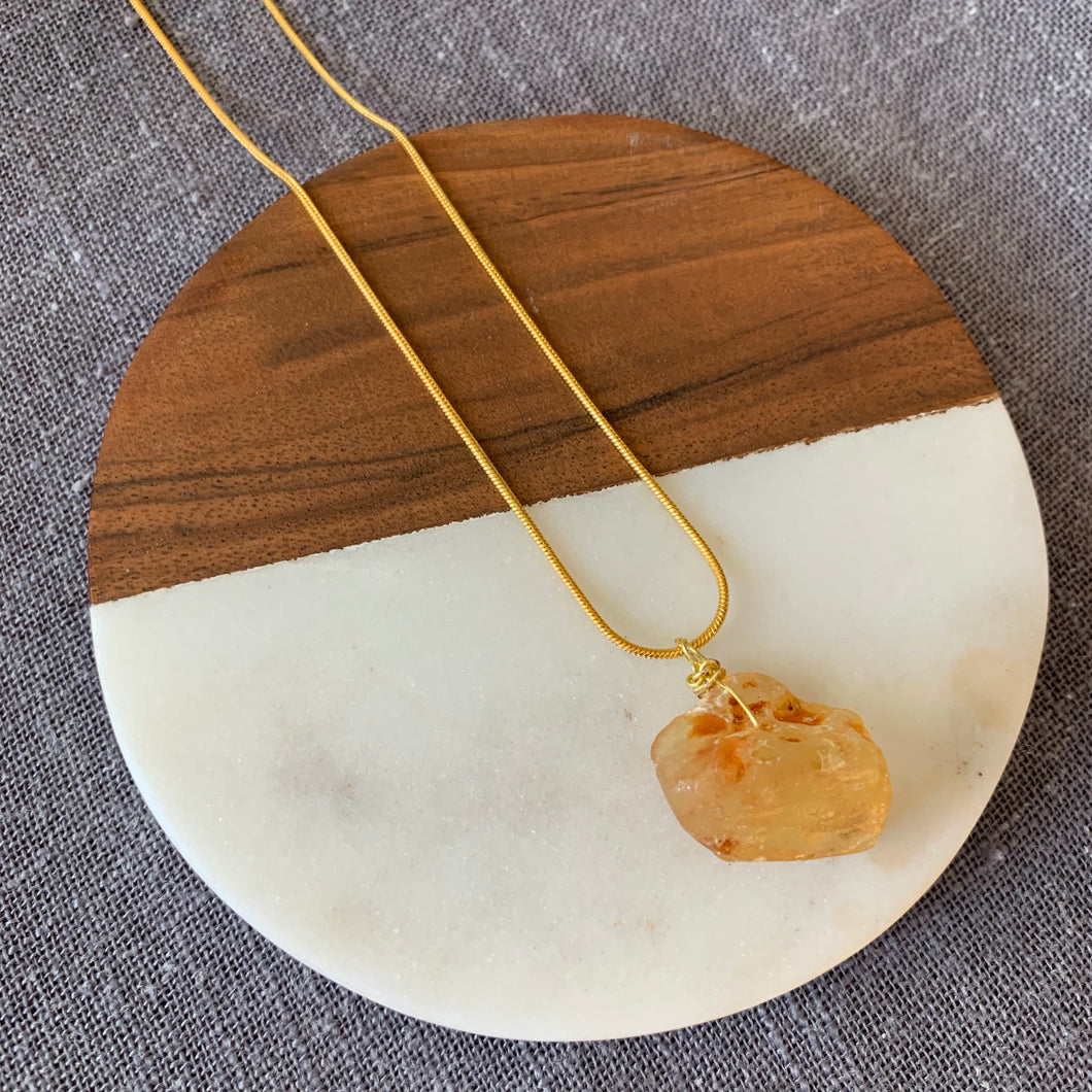Raw Baltic Amber Pendant Necklace