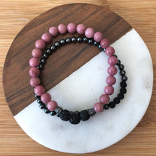 Diffuser Bracelet Set with Rhodochrosite, Hematite and Lava Rock