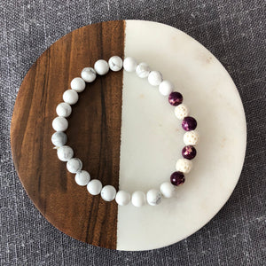 Diffuser Bracelet with Howlite, Plum Impression Jasper and Lava Rock