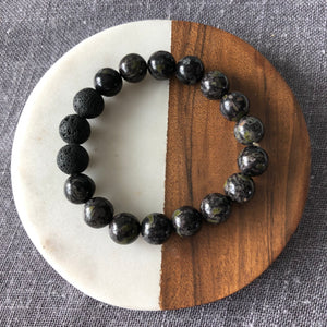 Diffuser Bracelet with Flower Obsidian and Lava Rock