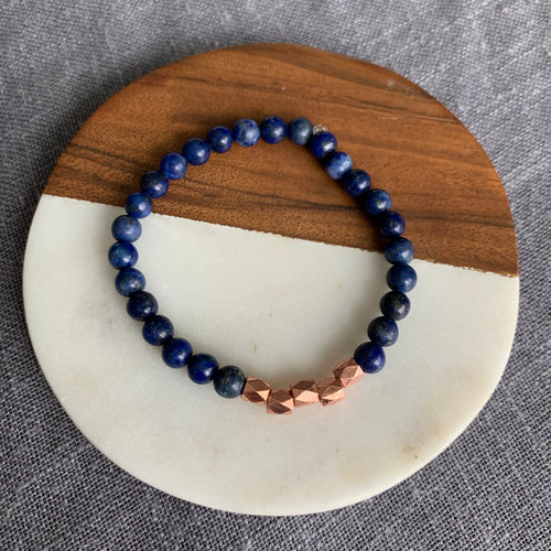Lapis Lazuli Bracelet Bracelet with Rose Gold Accents