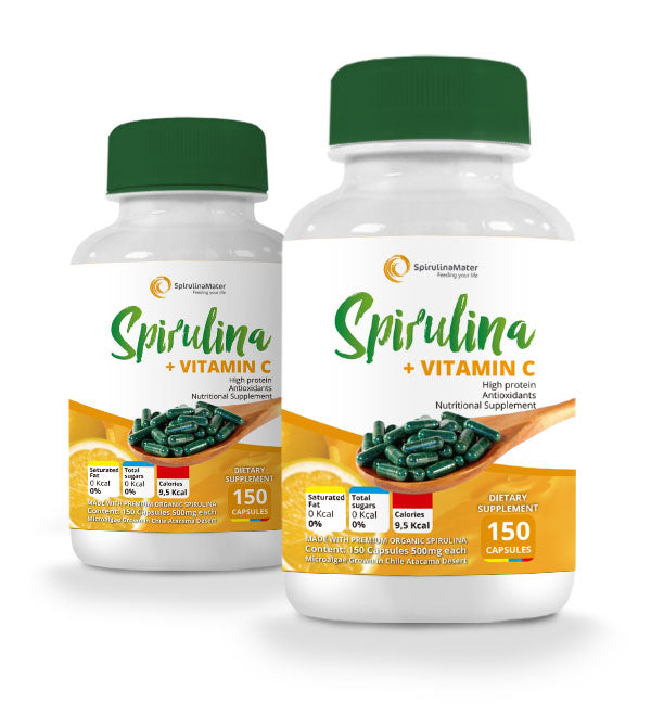 Spirulina with Vitamin C Capsules x 2