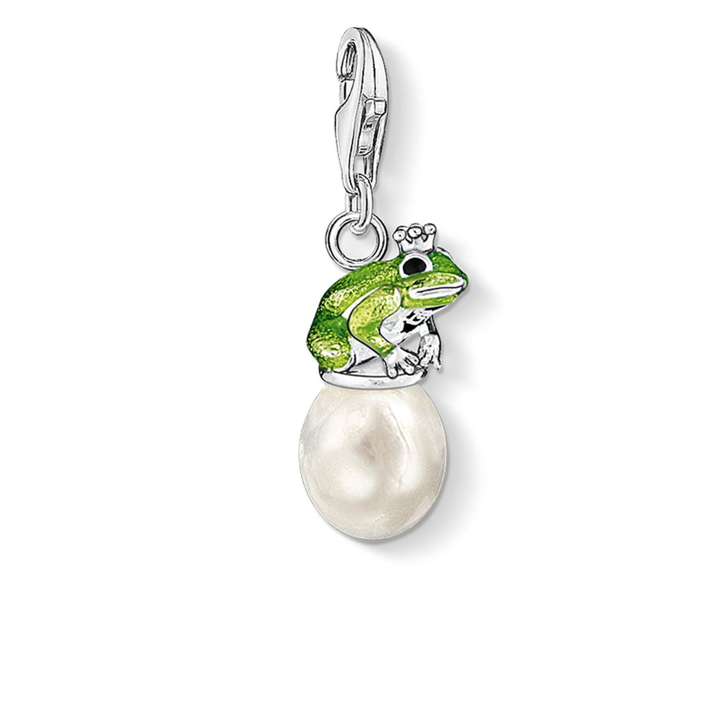 "Charm Pendant ""Frog On Pearl"""