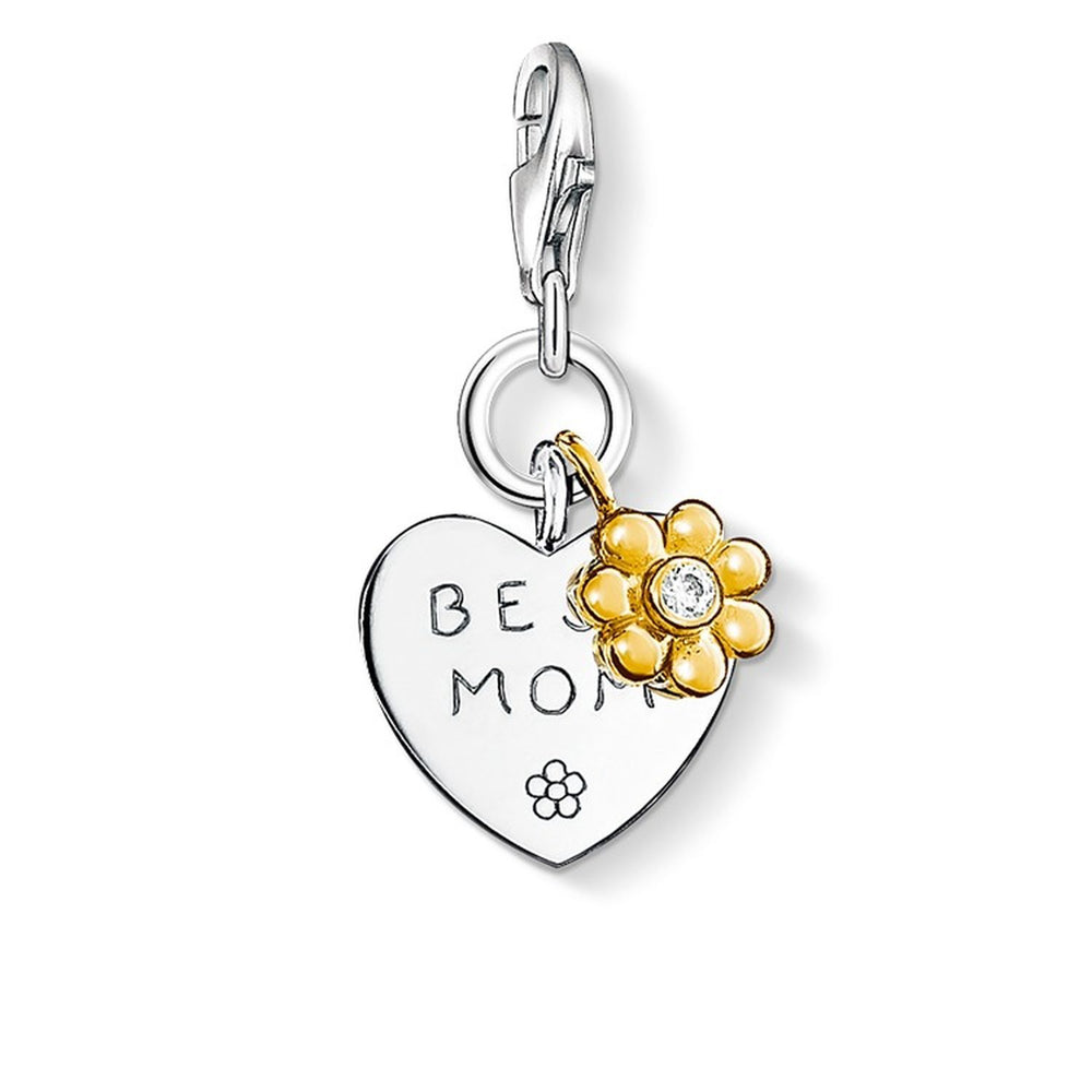 "Charm Pendant ""BEST MOM With Flower"""