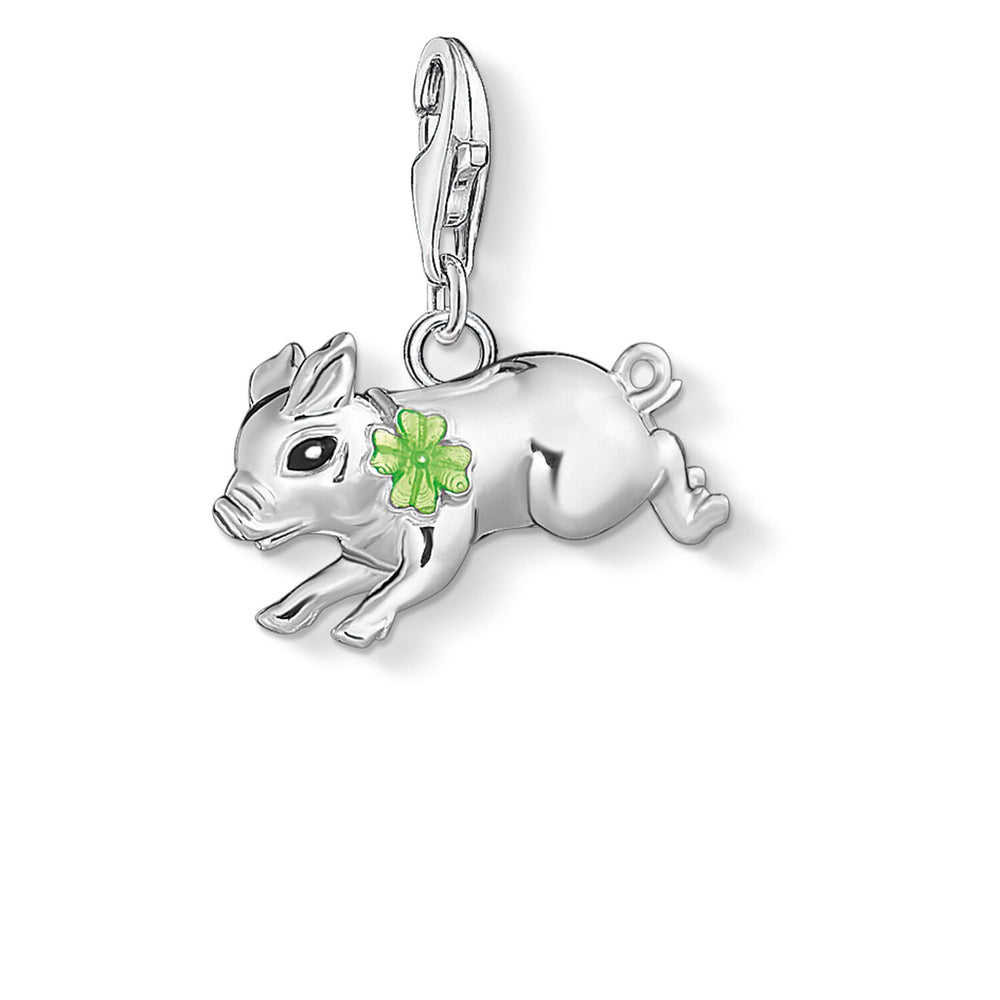 "Charm Pendant ""Little Pig With Cloverleaf"""