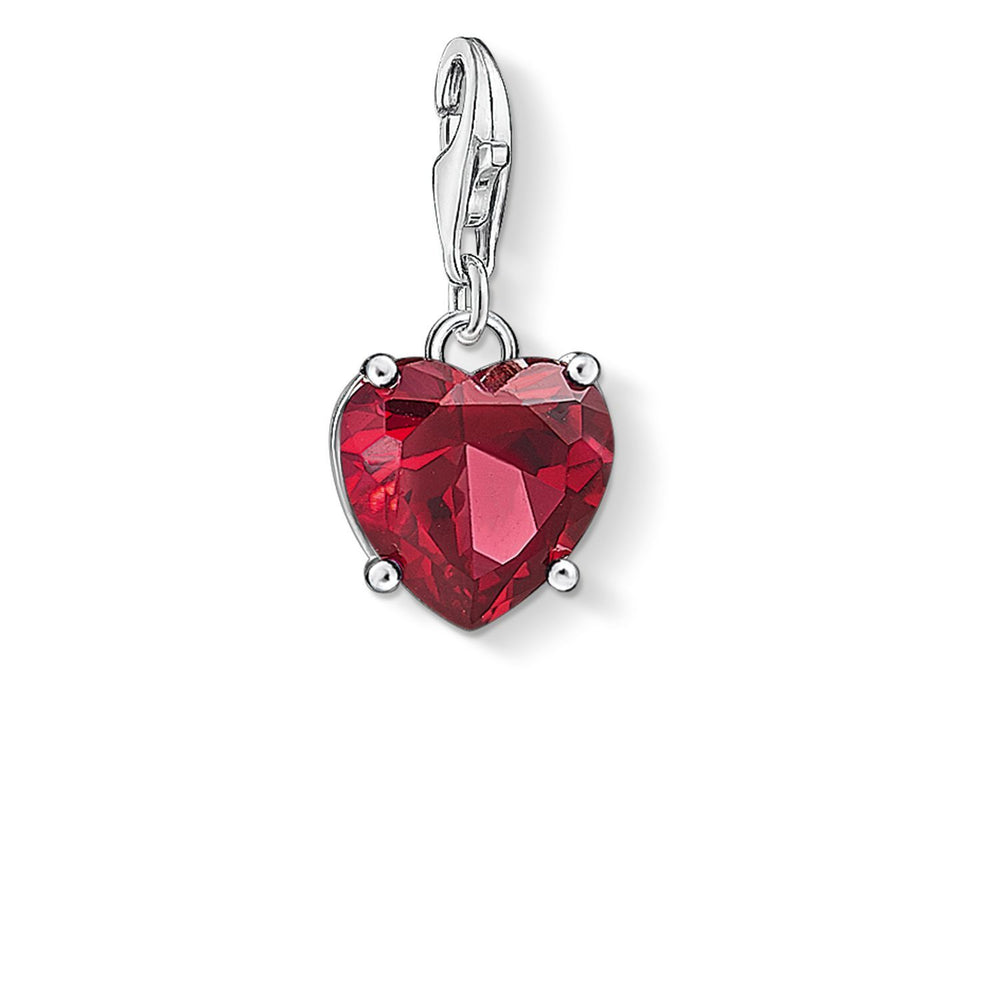"Charm Pendant ""Heart With Red Stone """