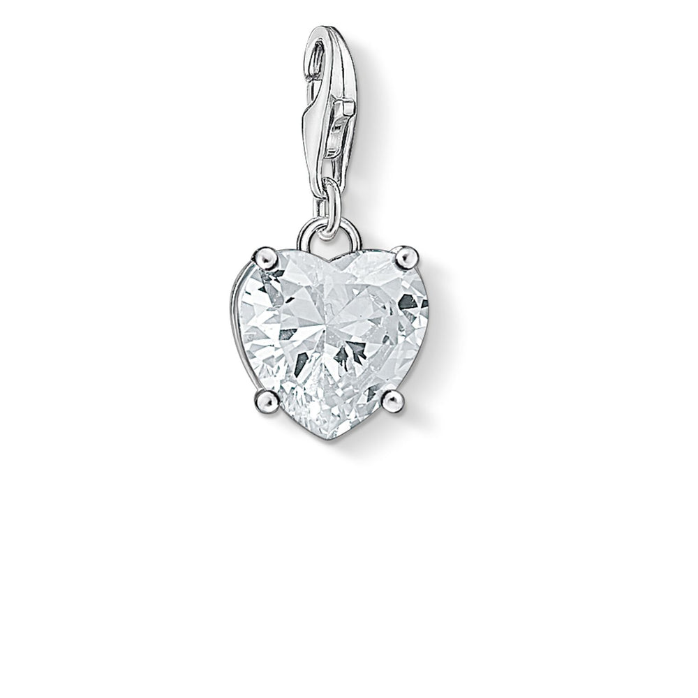 "Charm Pendant ""Heart With White Stone"""