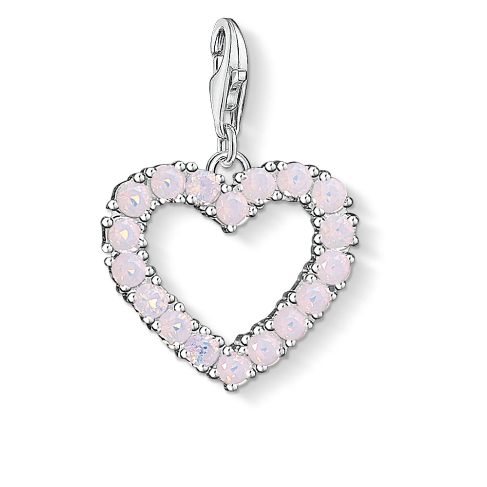 "Charm Pendant ""Heart With Hot Pink Stones """