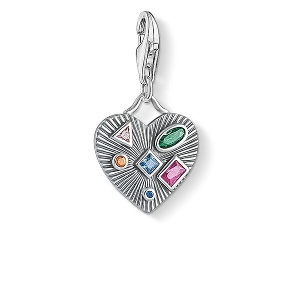 Charm Pendant Heart Colourful Stones