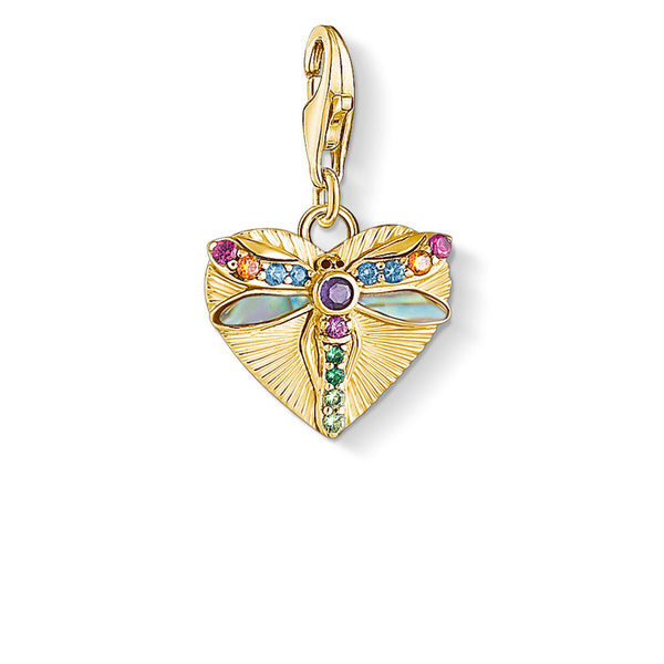 Charm Pendant Heart With Dragonfly, Gold