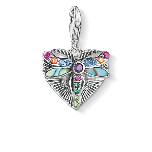 Charm Pendant Heart With Dragonfly, Silver