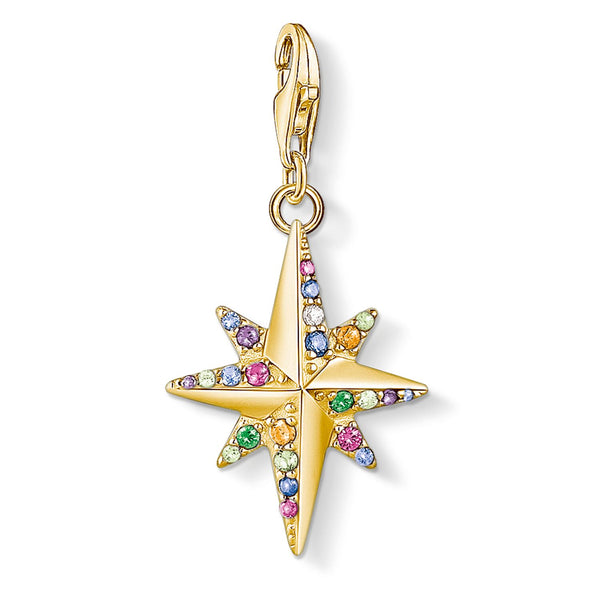 Charm Pendant Colourful Star, Gold