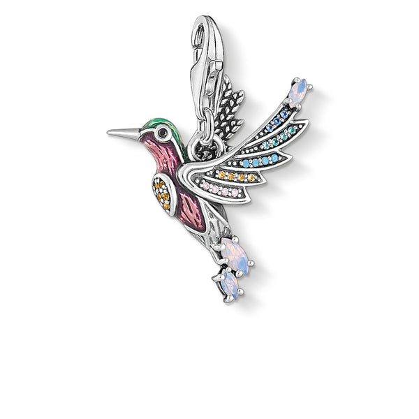 Charm Pendant Colourful Hummingbird Silver