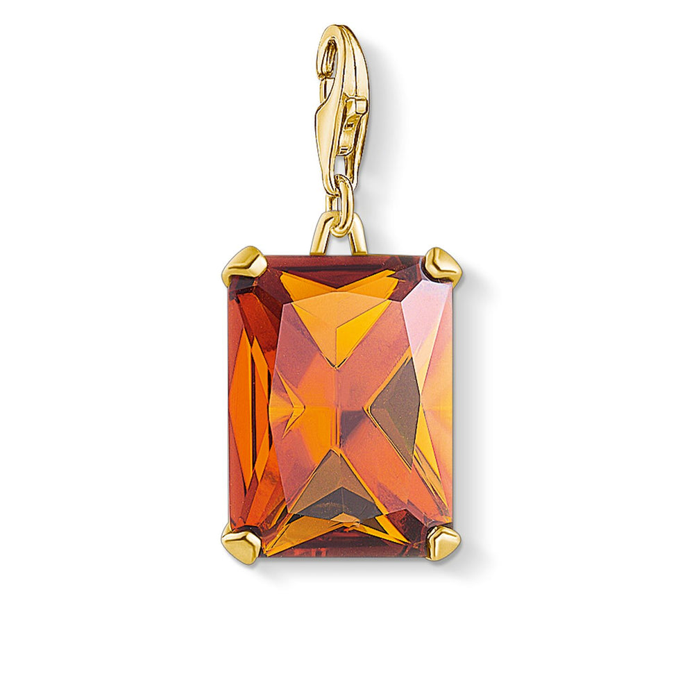 Charm Pendant Large Orange Stone