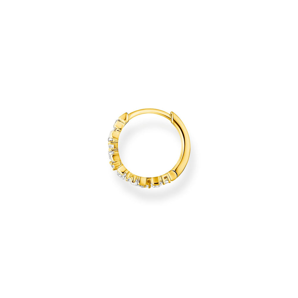 Single Hoop Earring Stones Gold