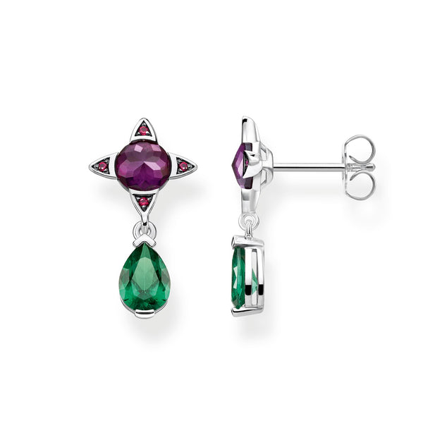 Earrings Green Drop With Purple Stone