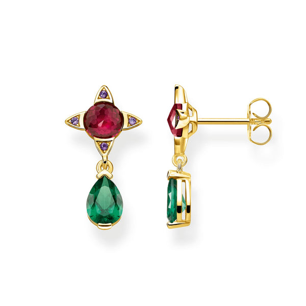 Earrings Green Drop With Red Stone