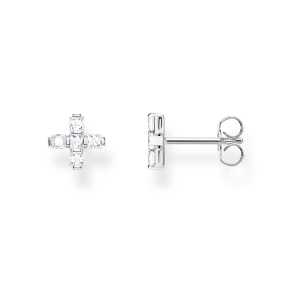 Ear Studs Cross White