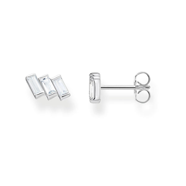 Ear Studs Angular Stones With Baguette Cut