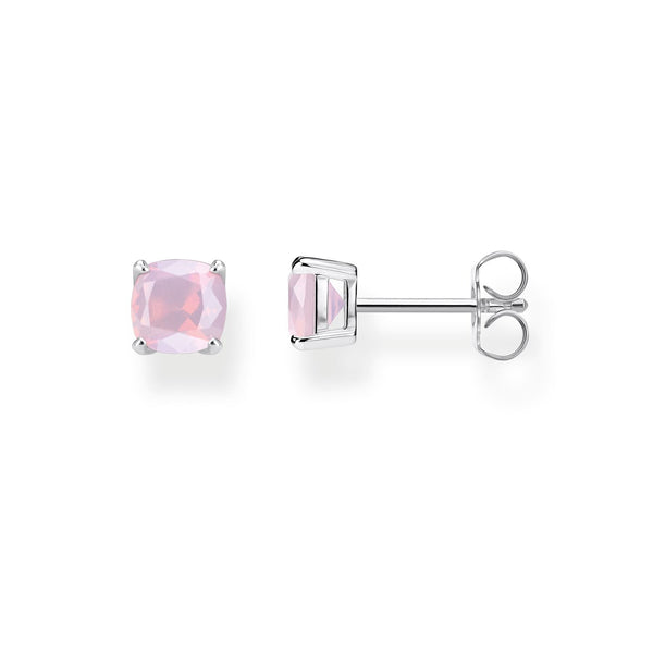 Ear Studs Shimmering Pink Opal Colour Effect