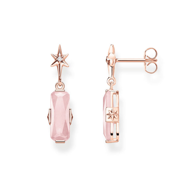 Ear Studs Pink Stone With Star