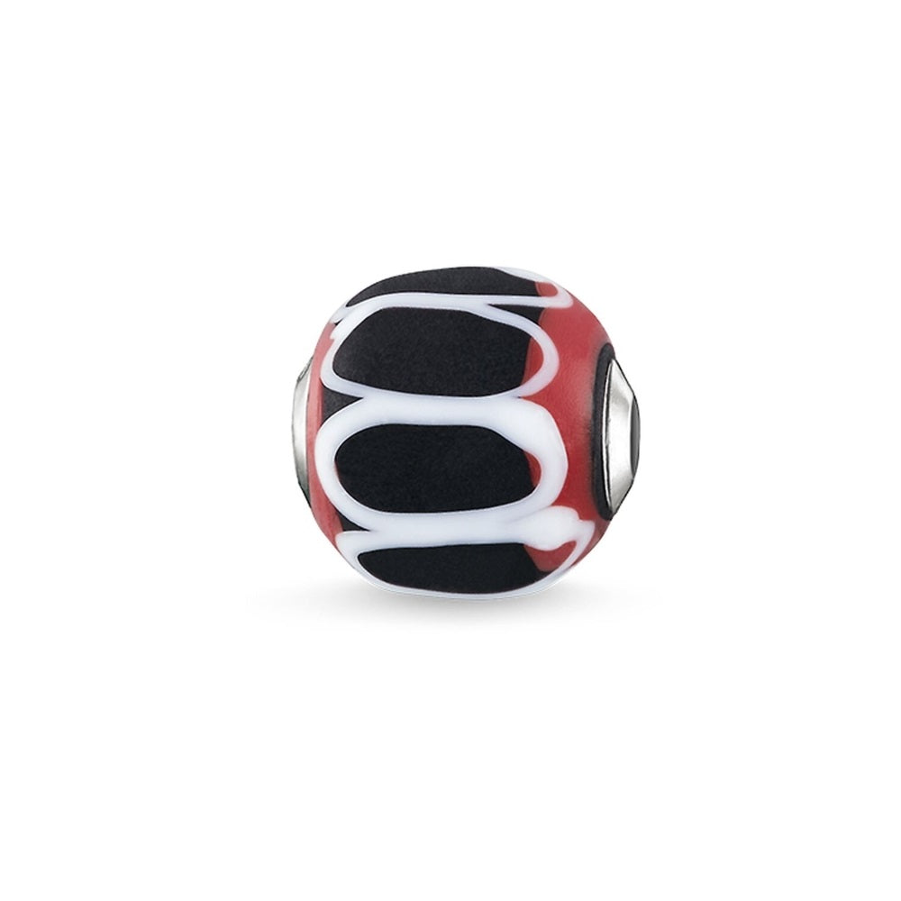 "Bead ""Glass Bead Black, Red, White"""