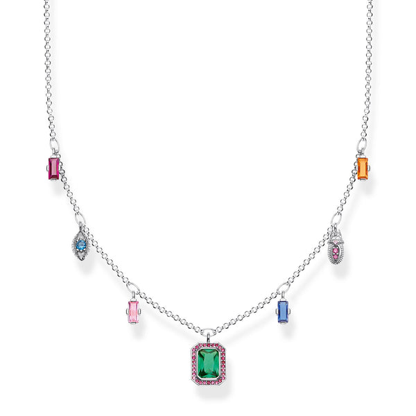 Necklace Colourful Lucky Symbols, Silver