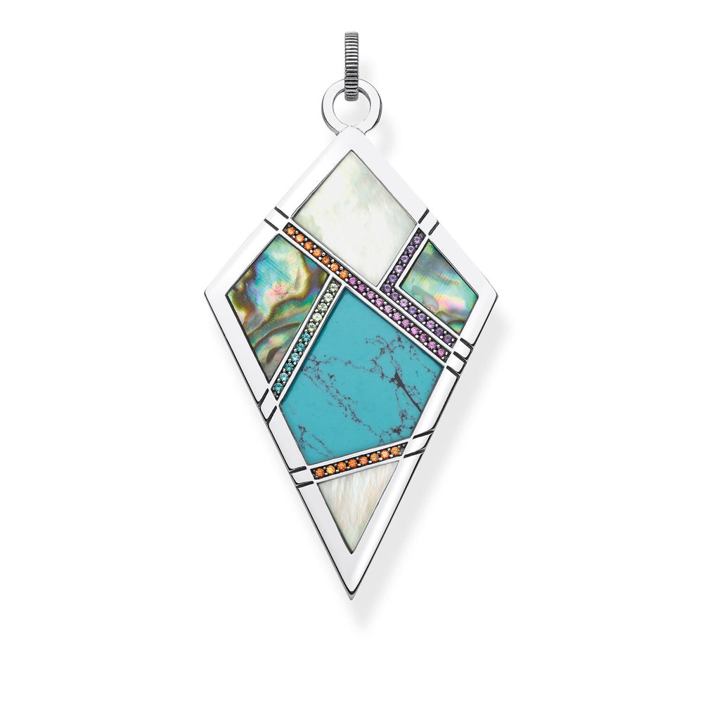 "Pendant ""Turquoise, Mother-of-pearl"""