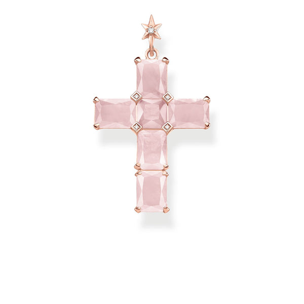 Pendant Cross Pink Stones With Star