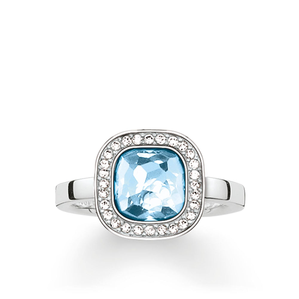 "Solitaire Ring ""Light Blue Cosmo"""