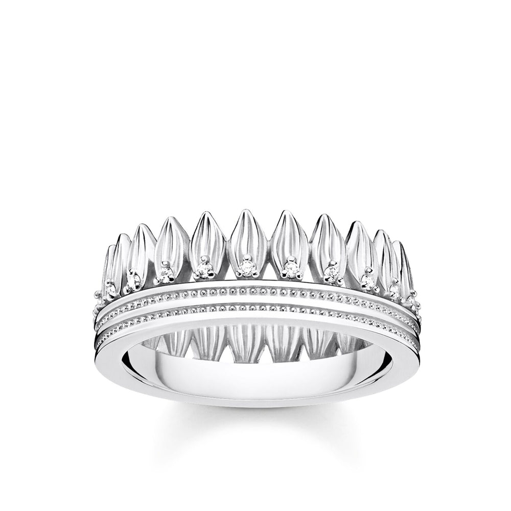 Ring Leaves Crown Silver