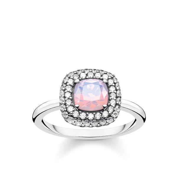 Ring Shimmering Pink Opal Colour Effect