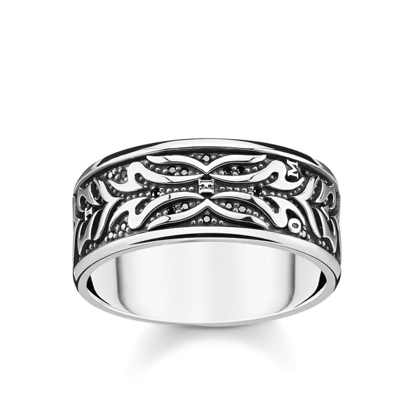 Ring Black Tiger Pattern